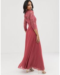 Little Mistress Long Sleeve Crochet Maxi Dress - Pink