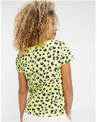 Love Moschino - Желтая Футболка С Ярким Леопардовым Принтом И Логотипом -желтый - Lyst