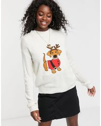 Brave Soul Fluffy Christmas Jumper With Sequin Reindeer - Multicolour