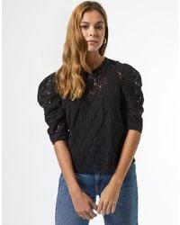 Miss Selfridge Черная Кружевная Объемная Блузка -черный Цвет
