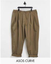 ASOS ASOS DESIGN Curve - Pantalon carotte ovoïde plissé devant - olive - Vert