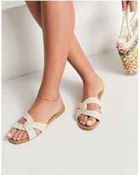 New Look Square Cross Strap Flat Sandal - Natural