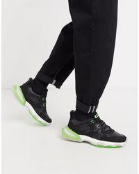 Bronx Seventy Street - Sneakers nere e verde fluo - Multicolore