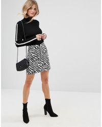 ASOS | Mini Skirt In Zebra Print With Circle Zip Trim | Lyst