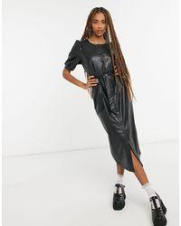 ONLY Черное Платье Миди Из Искусственной Кожи -черный