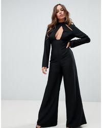 Missguided Tuta jumpsuit nera con cut-out e apertura a goccia - Nero