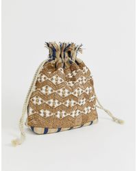 Glamorous Drawstring Ratten Embellished Woven Pouch Bag - Natural