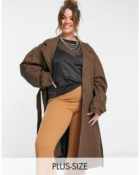Collusion Esclusiva Plus - Trench oversize con cintura marrone cioccolato