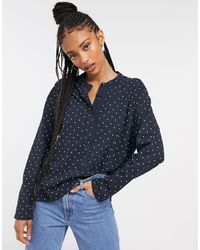 Whistles Spot Print Button Front Jersey Top - Blue