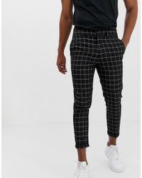 New Look Trousers In Window Pane Check - Black