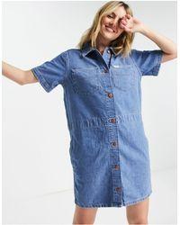 Wrangler Short Sleeve Denim Shirt Dress - Blue