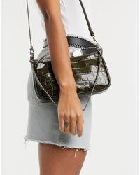 & Other Stories Croc Leather Baguette Handbag - Green
