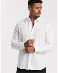 HUGO Emero Star Tip Collar Poplin Shirt - White