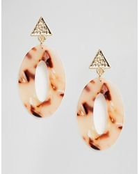 South Beach Resin Oval Drop Earrings - Metallic