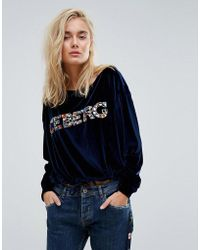 Iceberg - Off The Shoulder Embellished Logo Sweat - Lyst
