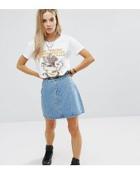 Noisy May Petite - Mini Denim A Line Skirt With Frayed Detail - Lyst