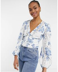 River Island Floral Volume Sleeve Button Front Blouse - Blue