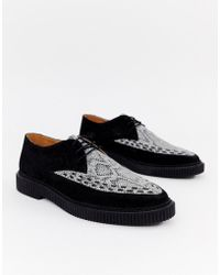 House Of Hounds Kain Creeper Derby Shoes In White Snake Print - Black