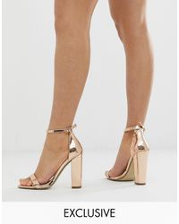 Missguided Block Heeled Barely There - Metallic