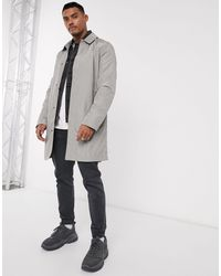 ASOS Lightweight Single Breasted Trench Coat - Gray