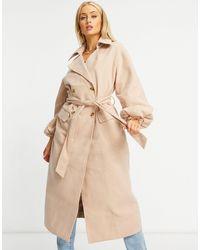 Missguided Светло-коричневое Удлиненное Пальто С Пышными Рукавами -коричневый - Естественный