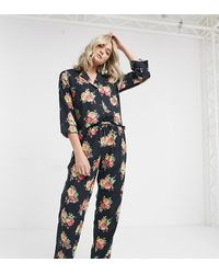 ASOS Asos Design Tall Floral Shirt & Pant Pyjama Set - Black