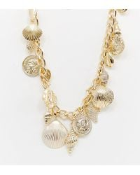 Reclaimed (vintage) - Inspired Multi Coin & Shell Charm Necklace - Lyst
