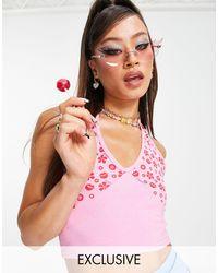 Daisy Street X bratz - crop top dos nu à imprimé floral style années 90 - Rose
