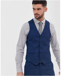 Original Penguin Slim Fit Blue Semi Plain Textured Suit Waistcoat