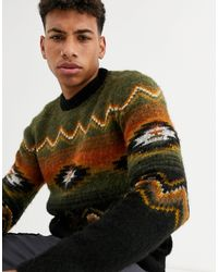 New Look Brushed Aztec Pattern Sweater - Green