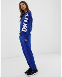 DKNY Slim Fit jogger With Logo Tape Co-ord - Blue