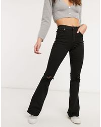 Dr. Denim Macy Flare Jeans With Ripped Knees - Black