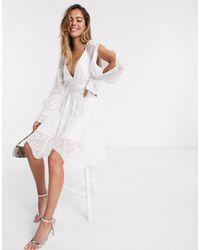 Forever New Белое Платье Мини С Вырезами -белый