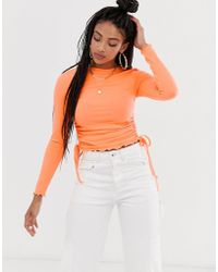 ASOS Crew Neck Fitted Top With Ruched Sides - Orange