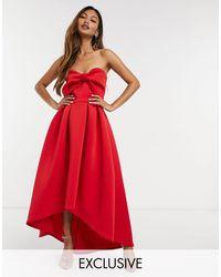 True Violet Robe mi-longue à nœud oversize - Rouge
