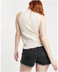 Oasis Lace Trim Shirred Neck Top - Natural