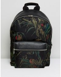 PS by Paul Smith - Ps By Paul Smith Backpack With All Over Leaf Print In Black - Lyst