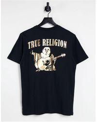 True Religion Gold Big Buddha Logo Crew Neck T-shirt - Black