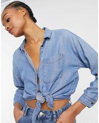 American Eagle – Durchgeknöpftes Oversize-Hemd - Blau