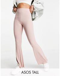 ASOS Asos Design Tall Rib Flare Trouser With Lettuce Hem - Pink