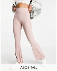 ASOS Asos Design Tall Rib Flare Trouser With Lettuce Hem - Pink