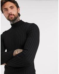 ASOS – Breit gerippter Muskel-Pullover mit Rollkragen - Schwarz
