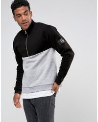 Hype - Sweatshirt In Black With Half Zip Funnel Neck - Lyst