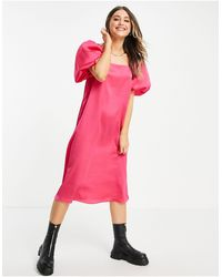 Lola May Puff Sleeve Midi Dress - Pink