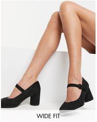 Simply Be Черные Туфли Мэри Джейн Для Широкой Стопы Jennifer-черный - Многоцветный