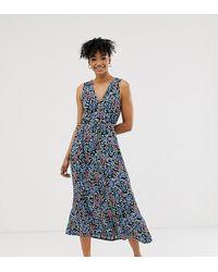 Monki - Blossom Flower Print Button Through Midi Dress In Blue - Lyst