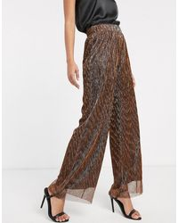 Y.A.S - High Waist Glitter Wide Leg Pant-black - Lyst