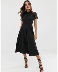 Liquorish A Line Lace Detail Midi Dress - Black