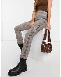 BB Dakota Pantalones marrones a cuadros con banda lateral - Marrón