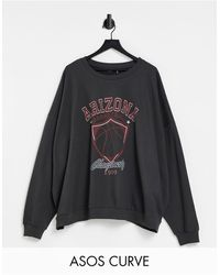 ASOS ASOS DESIGN Curve – Sweatshirt mit Arizona-Print im College-Stil - Grau